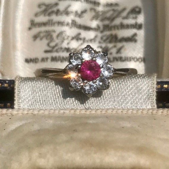 Vintage Ruby Paste 9ct Gold Ring, 1920s Ring, Red