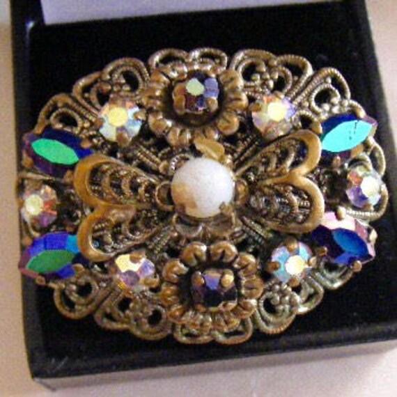a8f2a0998 Antique Filigree Brooch Art Deco Pin Czech Antique   Etsy