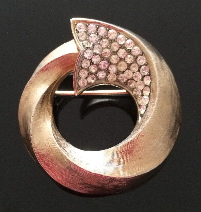 Rhinestone Pin Vintage Jewellery Vintage Brooch Crystal Brooch Corocraft Brooch Coro Brooch Round Brooch