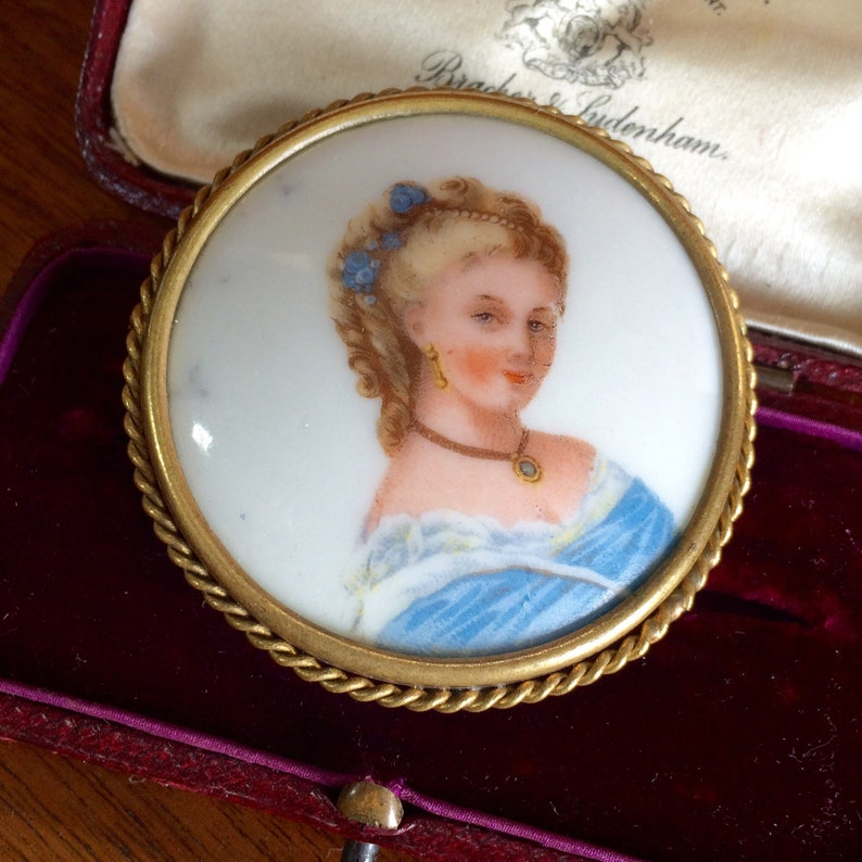 Portrait Brooch Vintage Signed French Antique Jewelry Antique Hand Painted Limoges Brooch Porcelain Brooch
