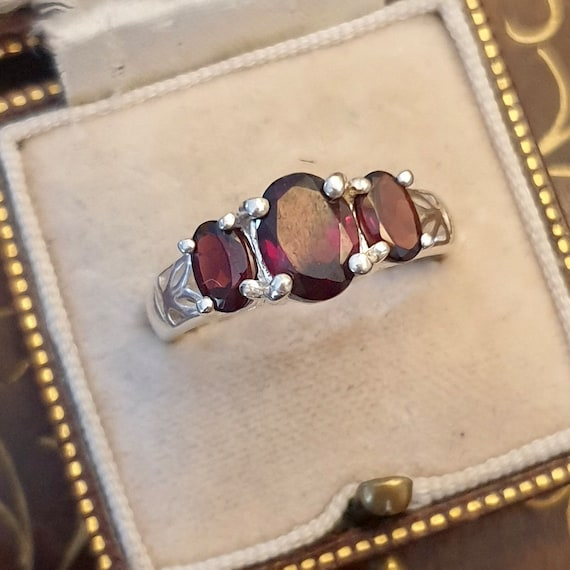 Garnet Ring, Garnet Silver Ring, Vintage Garnet R… - image 5