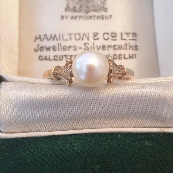Vintage Pearl Gold Ring, Real Pearl Ring, White Pe