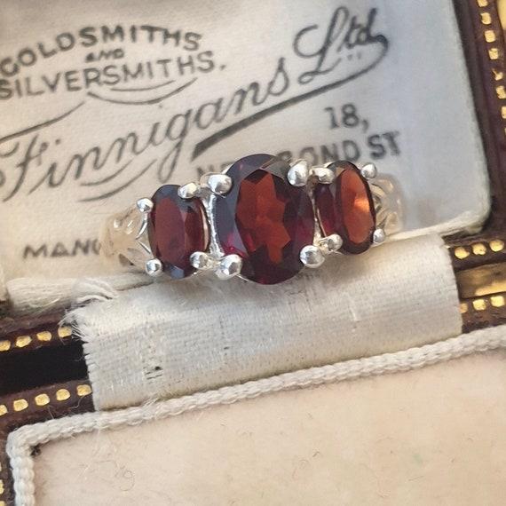 Garnet Ring, Garnet Silver Ring, Vintage Garnet R… - image 8