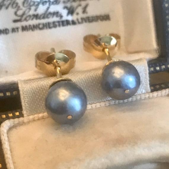 18ct Gold Pearl Earrings, Grey Pearl Earrings, Nat