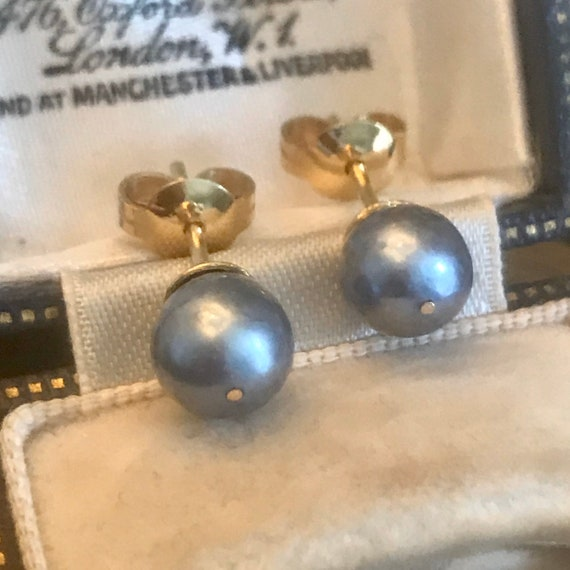 Pearl Gold Earrings, Grey Pearl Earrings, 18ct Gol