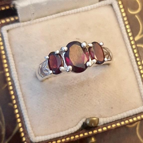 Garnet Ring, Garnet Silver Ring, Vintage Garnet R… - image 3