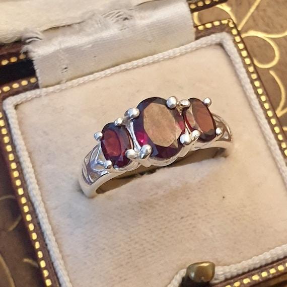Garnet Ring, Garnet Silver Ring, Vintage Garnet R… - image 10