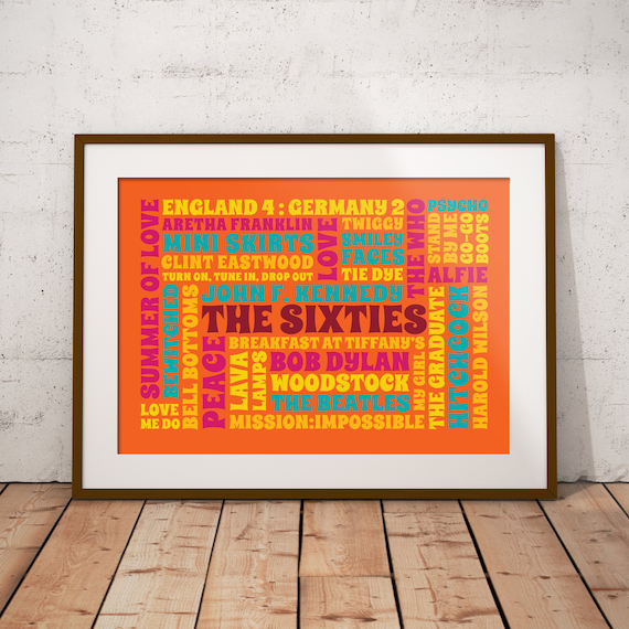 1960s Word Art Poster The Best Of 60s Cloud