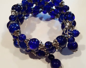 Navy Blue Nostalgia Wrap Bracelet