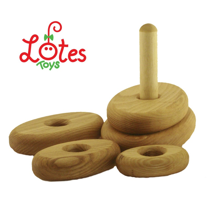 Wooden Stacking Toys Round Pyramid Classic Mini Oval Learning Toys Treated With Natural Wax Handmade Educational Stackable Eco Wooden Toys