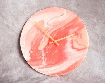 "12"" Diameter  Original Hand Painted Clock, Acrylic + Resin"