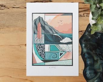 Big Wave Collage Print