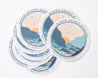 Round Vinyl Be Creative Surf Sticker