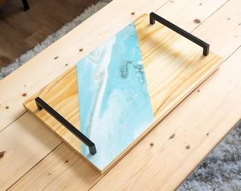 Handmade Decorative Serving Tray, Acrylic + Resin