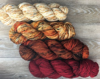 Apple Cinnamon Spice Speckle Fade Set - FOUR Skein Sock, DK, or Worsted Weight, Shawl or Sweater Kit, Fall Autumn