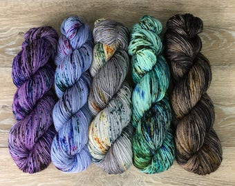 a2ec9c11b Stoney Speckle Fade Set III- FIVE Skein Hand Dyed Speckled Sock DK Worsted  Weight Yarn Set