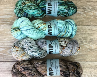 Stoney Speckle Fade Set - FOUR Skein Yarn Set, Shawl or Sweater Fade Kit, Sock DK Worsted Weight