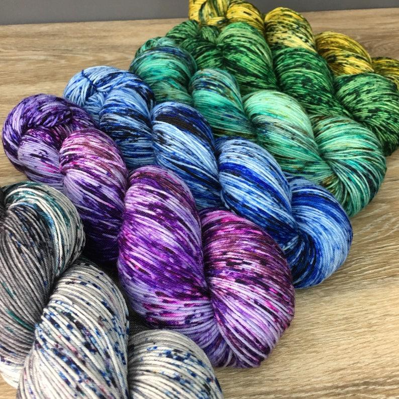 Superwash Merino Wool Nylon COLOR CRUSH Fade Set 100g Per Skein SIX Skein Yarn Set Shawl or Sweater Kit Sock Dk Worsted Weight Options