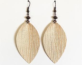 Recycled Vinyl Leaf Earrings - Cream