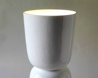 Nomi Tall Lamp. Handmade in England by Wendy Tournay. Contemporary Luxury Slip Cast Fine Bone China. Contemporary Table Lamp.