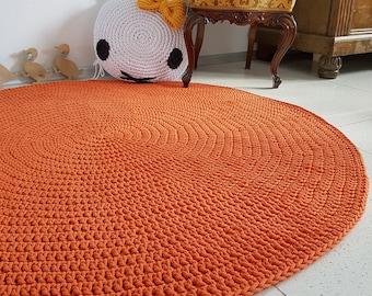 Modern Orange round rug, Round area rug Nursery Rugs Skandinavische Teppich rund alfombra trapillo modern enfant Large Crochet floor Rug