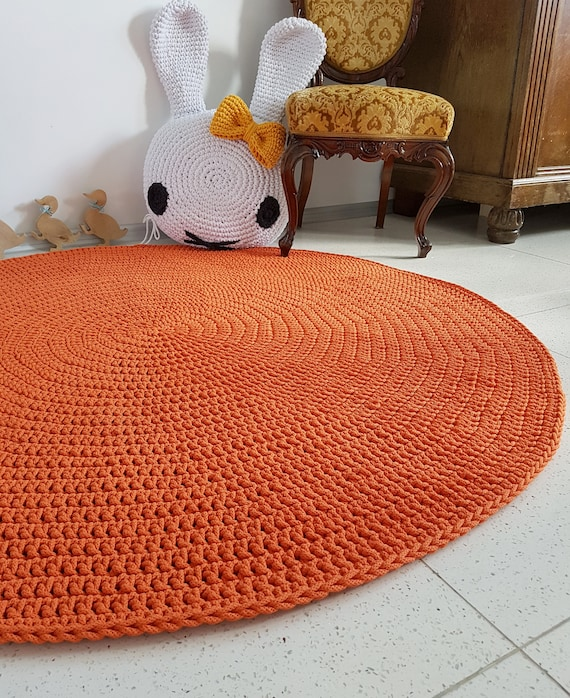 Modern Orange Round Rug Round Area Rug Nursery Rugs Etsy