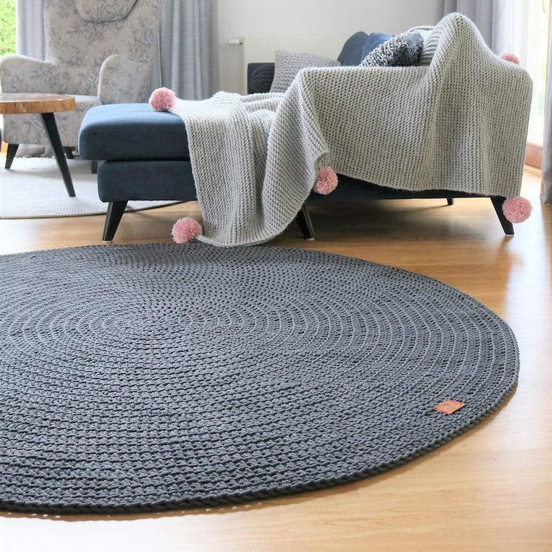 Moderne gris foncé ronde tapis rond tapis chambre de bébé | Etsy