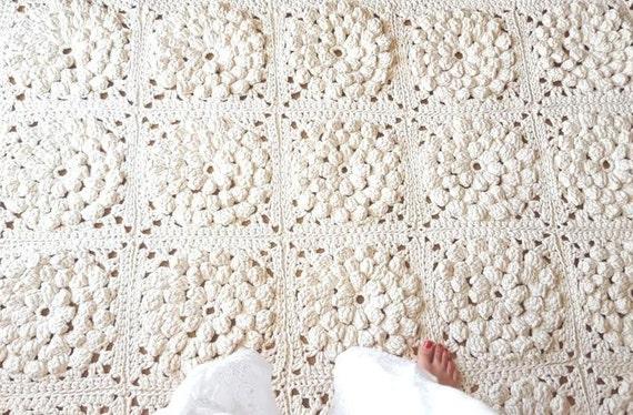 Moderne Rechteckige 3d Blumen Ecru Teppich Häkeln Teppich Etsy