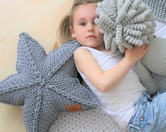 Many colors, Decorative gray star pillow, Knitted star pillow, star pillow, pillow decorative, pillow decor, knitted pillow,