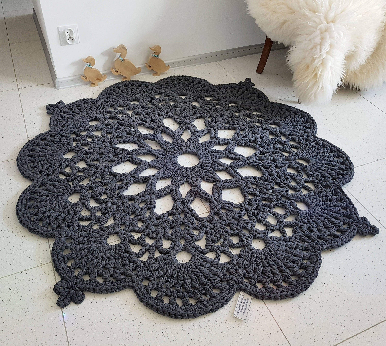 Dark Silver Rug: Dark Grey Floor Rug Crochet Rug Carpet Floor Mat Rug