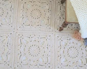 Romantic rectangular Beige Ecru Floral Rug/ Crochet Rug/ Rug /Area Rugs/ Floor Rugs/ Large Rugs/ Handmade Rug/ Carpet/ Cotton Cord Rug