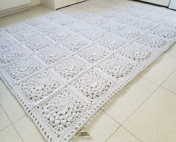 Moderne Rechteckige 3d White Floral Teppich Häkeln Teppich Etsy
