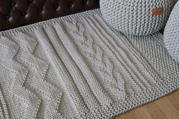 Beige Patchwork Teppich Häkeln Teppich Streifen Teppich Etsy
