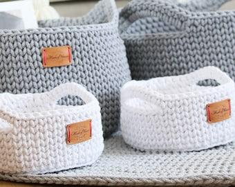 Handmade White Cotton Standing Basket with handles/ Basket/Baskets/ Crochet Organizer/ Storage Basket