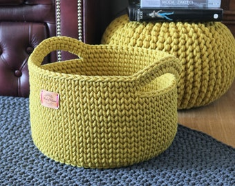Handmade Medium Large Mustard Yellow Cotton Standing Basket with handles/ Basket/Baskets/ Crochet Organizer/ Storage Basket