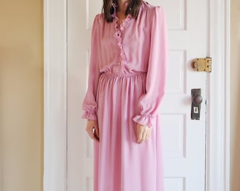 Vintage 70's Coco California Striped Pink Maxi Dress with Ruffles, Size S-M / ITEM653