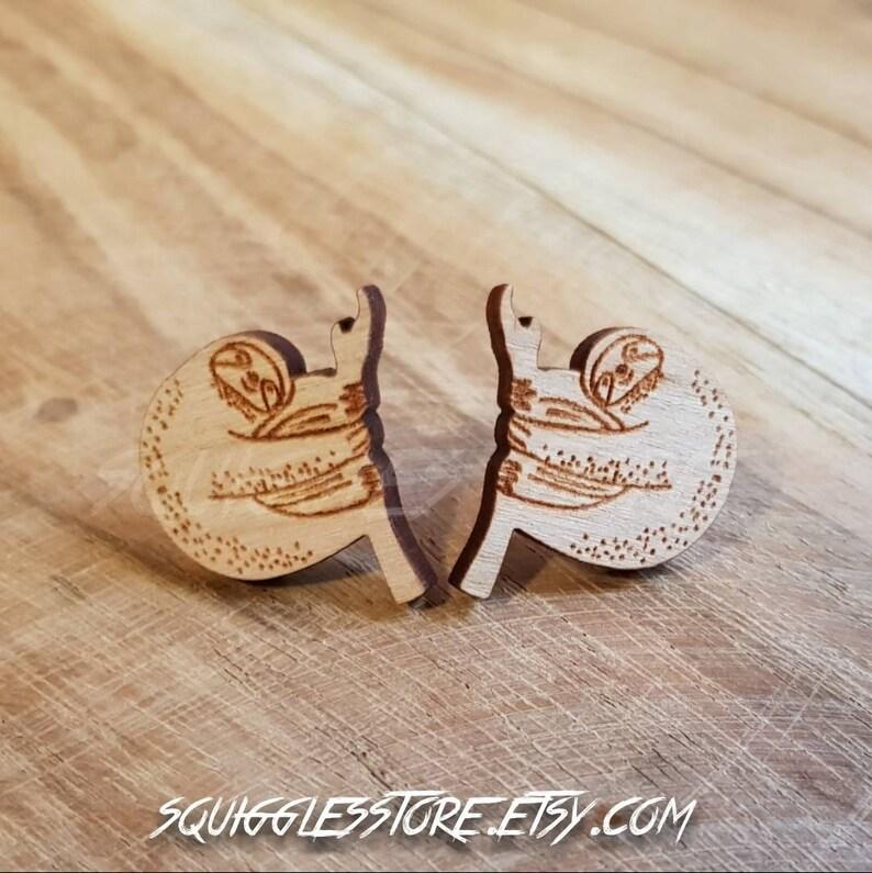 56696e76e Sloth Wooden Stud Earrings Titanium Posts Sensitive Ears | Etsy