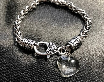 Chunky Silver Rope Bracelet with Clear Quartz Heart Charm