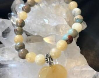 Self Confidence in Calcite & Aqua Terra Jasper Charm Bracelet