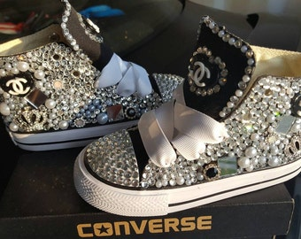 Custom Converse, Blinged Converse, Embellished Converse, Great Birthday Shoes for your Little one