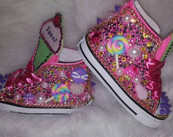 Candyland Theme Custom Converse, Birthday Shoes, Unique Shoes, Blinged Converse