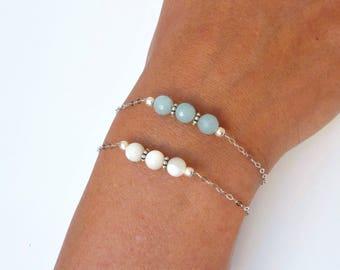 Bracelet Amazonite - Argent 925, chaine fine, intercalaires en argent vieilli, pierres fines naturelles, bijou artisanal