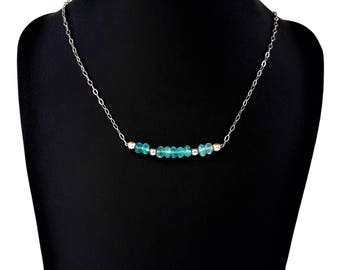 Aquamarine necklace - 925 sterling silver, yellow gold (gold filled 14 k *), chain, natural gemstones, semi precious, handmade jewelry