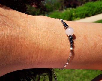 Bracelet Quartz rose, Hématite - Argent 925, chaîne fine, intercalaires en argent vieilli, pierres fines naturelles, semi-précieuses