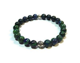Men's bracelet elastic - Bali Sterling Silver 925 natural gem stones