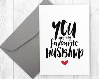 Printable Valentine's Day card for husband - You are my favorite husband | Printable anniversary, birthday card for him