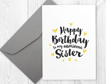 Printable Happy Birthday card for sister -  Happy BIRTHDAY to my awesome SISTER card / Happy birthday card for sister,siblings birthday card