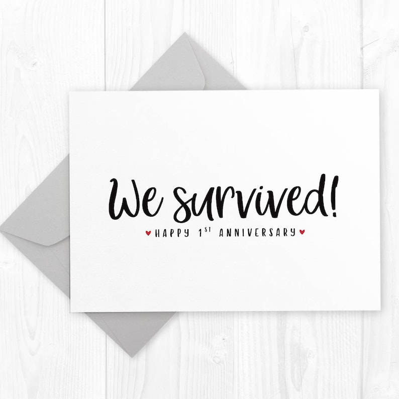 image about Happy Anniversary Printable Card titled A single Yr Wedding day Anniversary printable card - We survived - Marriage ceremony Anniversary card for partner, spouse or husband or wife, initially anniversary card