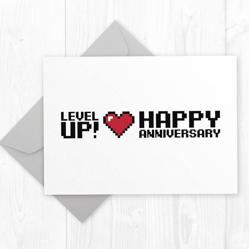 graphic relating to Happy Anniversary Printable Card identified as Issue UP - Marriage Anniversary geeky printable card - humorous Anniversary card for gamer partner, spouse or companion - humor anniversary card