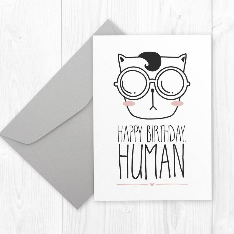 Funny CAT Birthday Card For Boyfriend